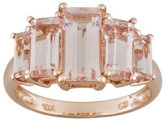3.50ctw Emerald Cut Cor-de-rosa Morganite(Tm) 10k Rose Gold 5-stone Ring