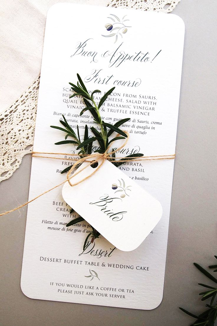 how to put guest names on wedding invitations%0A A wedding day menu and place name tags for each guest at an Italian Wedding  at Villa Regina Teodolinda on Lake Como  Following the style of wedding