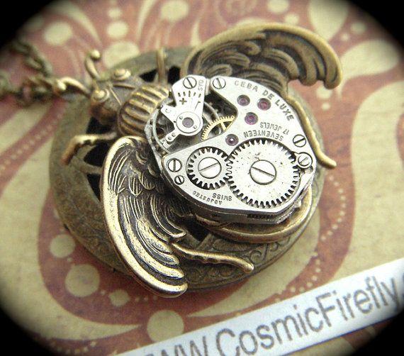 Стимпанк Медальон ожерелье Сельский Крылатый Bug ожерелье в стиле стимпанк ожерелье Винтаж Смотреть Механизм Готический викторианской Antiqued латунь медальон NEW