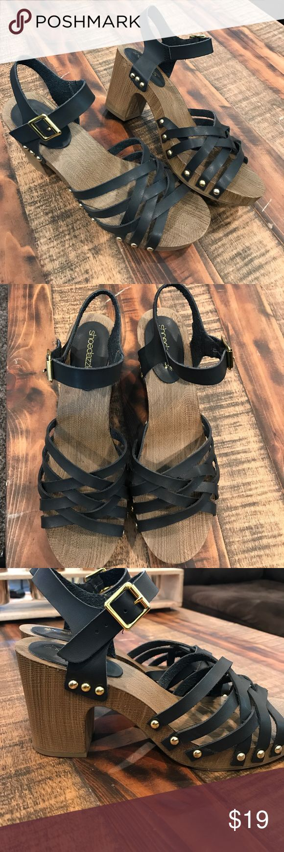 Shoe dazzle Dorthy Black Brown Strappy heel 9 Brand new without tags. ShoeDazzle Shoes Platforms