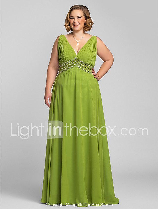 Ts de alta costura más tamaño prom formal vestido de noche - una línea de v-cuello piso-longitud gasa con cuentas 2017 - $1900.81