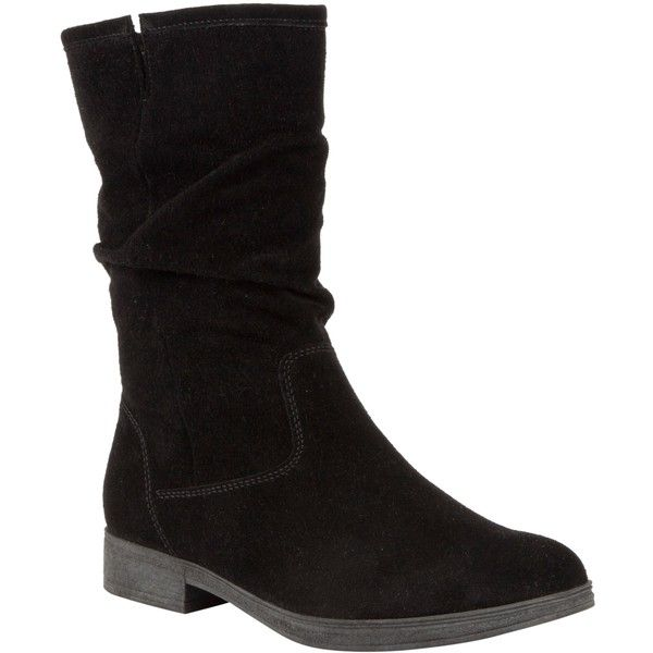 Gabor Dolce Suede Calf Boots , Black ($125) ❤ liked on Polyvore featuring shoes, boots, footwear, black, black suede flats, suede flats, low-heel boots, black boots and flat suede boots
