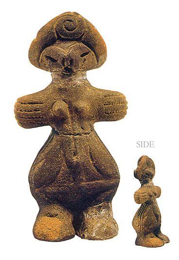 "Japanese ceramic figurine ""DOGU"".   The goddess the hand like the fin. Yamanashi Japan. BC.3,500 - BC.2,500"