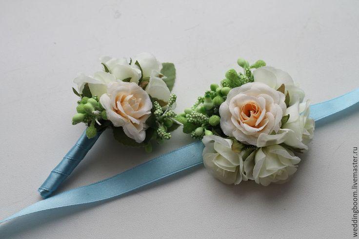 Купить Бутоньерки для свидетелей (1 пара) - бежевый, свадебные бутоньерки, персиковая свадьба, персиковая бутоньерка