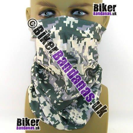 Khaki and Cream Pixelated Digital Camouflage Multifunctional Headwear / Neck Tube Bandana.  One of over 400 Styles for Men and Women