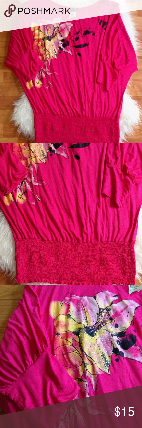 Xenobia Pink Short Sleeve Top Xenobia Pink Short Sleeve Top - Size 3X - Color: Pink - 95% Rayon/5% Spandex.  Lovely embellished design. In great condition and ready to wear.   Any questions, please feel free to ask. Zenobia Tops Blouses