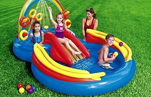 Rainbow-Ring-Inflatable-Water-Play-Center-for-Ages-2-Garden-Kid-Pools-New