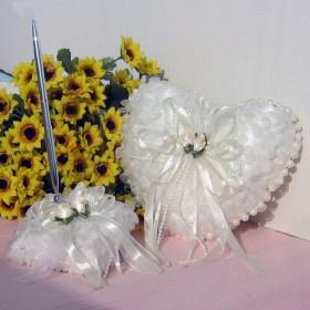 Elfenbein Organza süßes Herz Hochzeit Stift gesetzt und Ringkissen