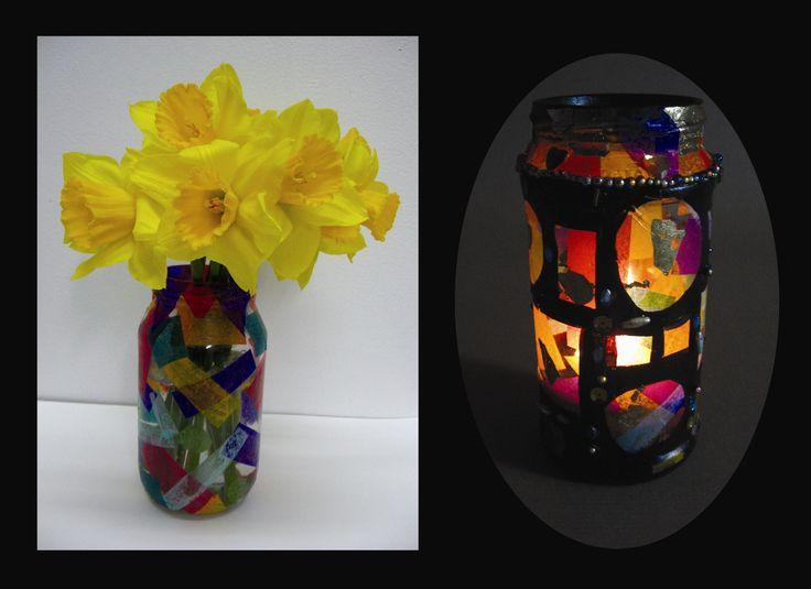 jewel jars- tissue paper and black paint