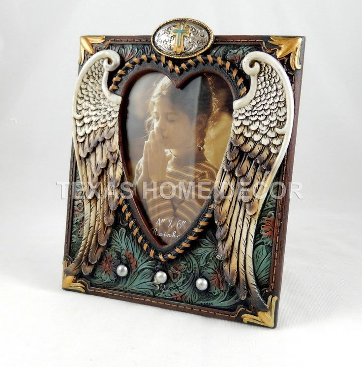 Angel Wings Turquoise Western Rustic Picture Frame Heart Cross Floral Studs #Southwestern