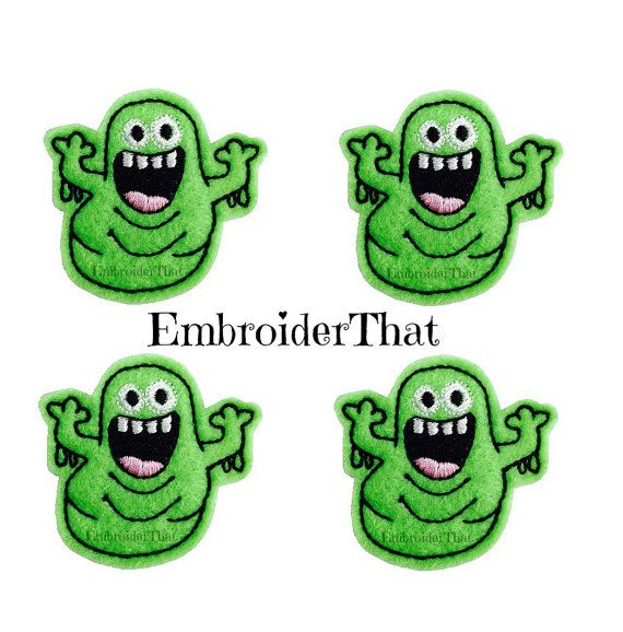 UNCUT Custom Green Slimer Embroidered Felt by EmbroiderThat