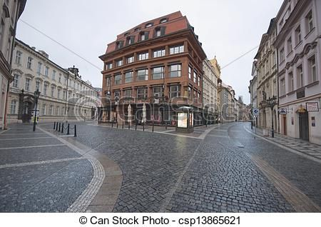 Prague, early in the morning during a rainy day, spring season