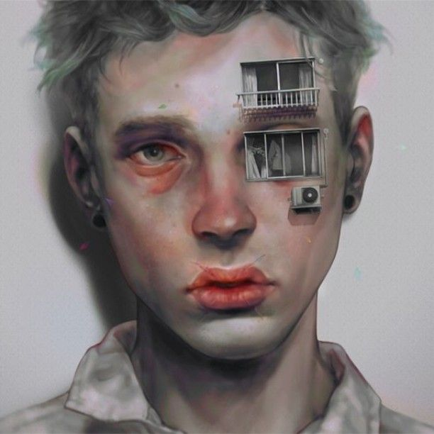 by 非 (hi), aka Xhxix. *Xhxix is a Tokyo-based artist whose digital paintings depict mostly gaunt young men in surreal states of mental anguish or physical injury. His subjects are inspired by niche models, such as Jacob Morton, whose pictures he gathers off the internet.
