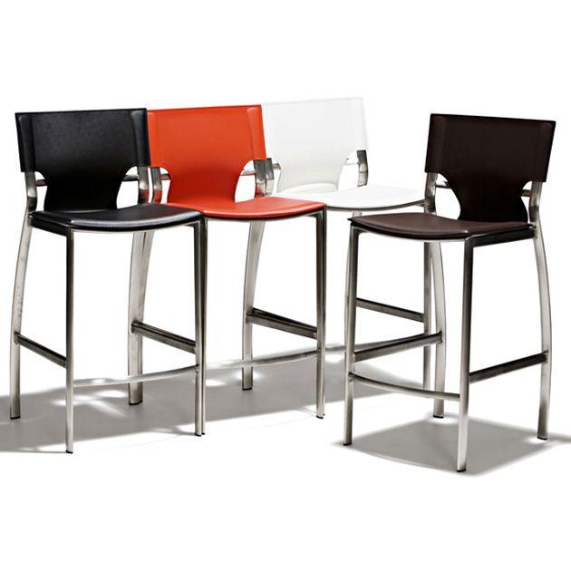 Jamaica - Barstol med sits i skinn och underrede i mattborstat stål, fast höjd. Finns i två sitthöjder.