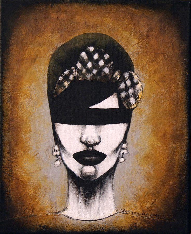 Retro 1, 22x27cm, acrylic on canvas, 2014, portrait, painting, art, face, bow