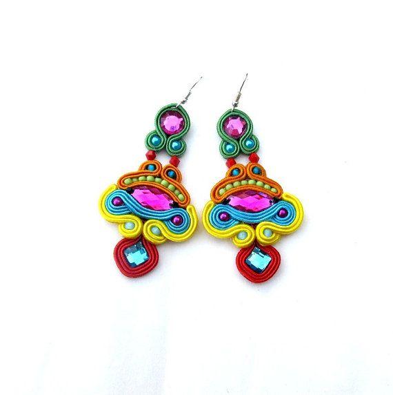 Soutache Earrings Colorful with Beads Soutache Braid Glamour and Shiny Style Gift Toho Handmade Jewelry Colorful