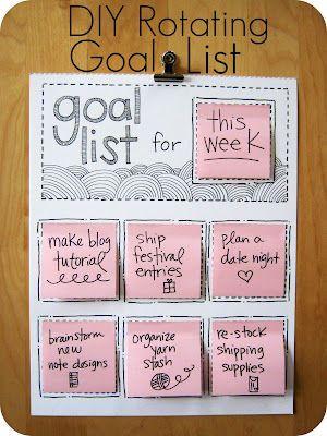 goal list: Good Ideas, Organic, Cute Ideas, Goallist, Sticky Note, Goals Lists, Diy Rotator, Rotator Goals, Crafts