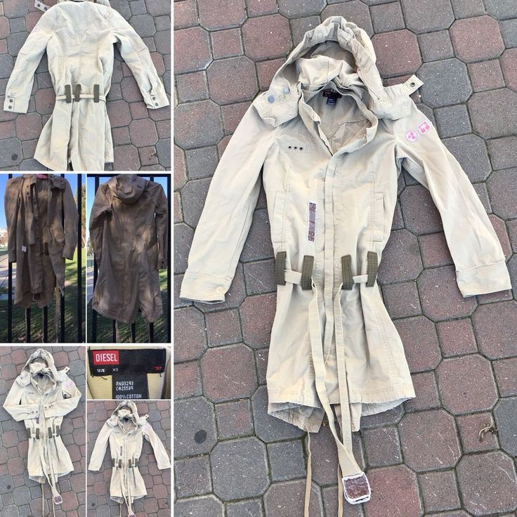 DIESEL Coat Beige Khaki Distressed Military Safari XS Belted Snap On Hood    eBay
