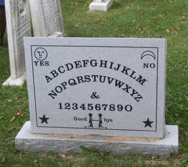 This is the headstone of Elijah Bond the man who patented the ouija board...I think a man with a good sense of humor!