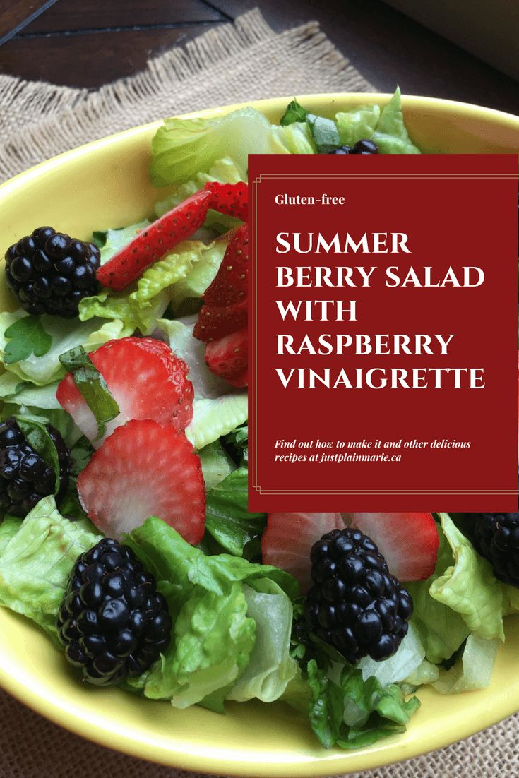 Summertime #Berry #Salad with Fresh #Raspberry Vinaigrette - light, refreshing, seasonal way to cool off in the summer heat via @justplainmarie