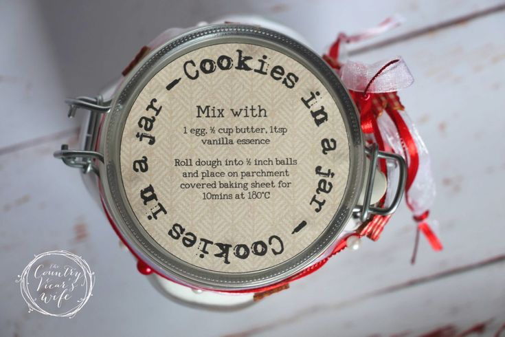 Cookies in a Jar with free printable. DIY gifts. Teacher Gifts.