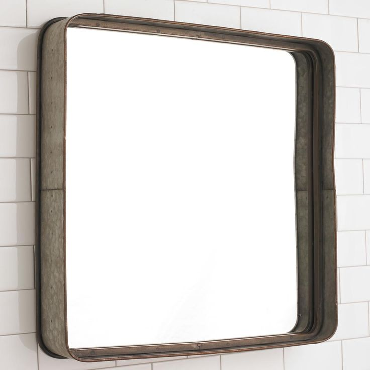 metal galvanized squared mirror farmhouse classics farmhouse bathroom mirrors industrial