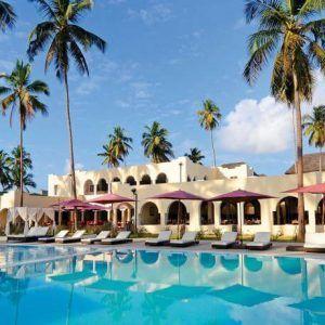 #отель Dream of Zanzibar Resort расположен на пляже Кивенгва на северо-восточном побережье Занзибара, в 45 км от международного аэропорта Стоун-Тауна. На территории отеля Dream of Zanzibar Resort есть центр водного спорта и дайвинга. #Занзибар  В отеле: 157 номеров. В номерах: комната для багажа, москитные сетки, потолочный вентилятор, кондиционер, телефон, спутниковое ТВ, беспроводной интернет, сейф, мини-бар, кофеварка, ванная, фен.  В отеле Dream of Zanzibar работают 5 разных ресторанов.