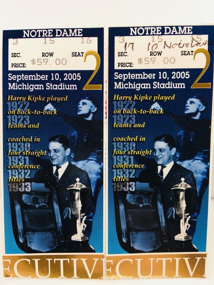 A Pair of College Football Tickets Michigan Wolverines 2005 - 9/10 - NOTRE DAME  | eBay
