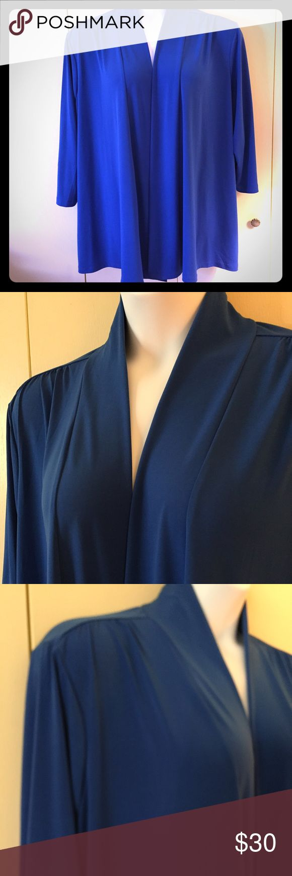 Susan Graver Essentials Liquid Knit cardigan Beautiful royal blue Susan Graver Essentials Liquid Knit open front cardigan. So soft, chic, and always stylish. Poly/spandex blend. Size 2X Susan Graver Sweaters Cardigans