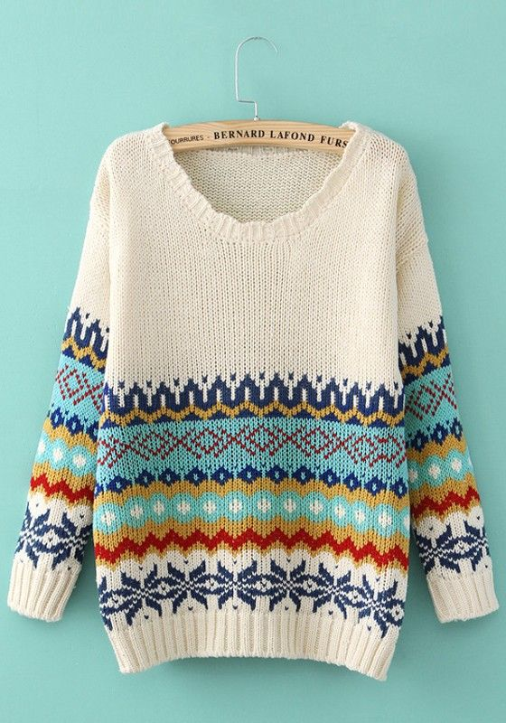 White Geometric Print Long Sleeve Sweater