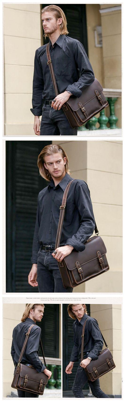Genuine Leather Briefcase Messenger Bag Laptop Bag Men's Handbag