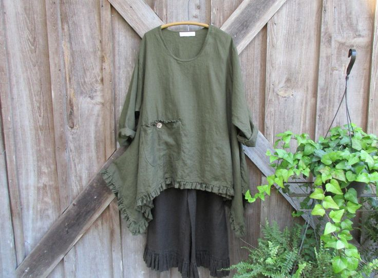 linen contemporary tunic dress in moss olive by linenclothing