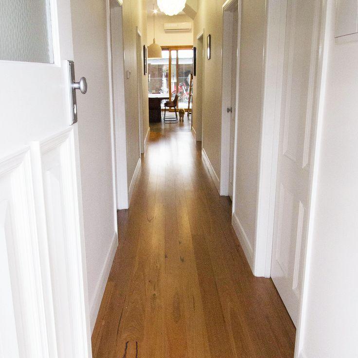 Feature grade Blackbutt flooring looking sharp in this hallway. Seddon, Melbourne, Victoria, Australia.