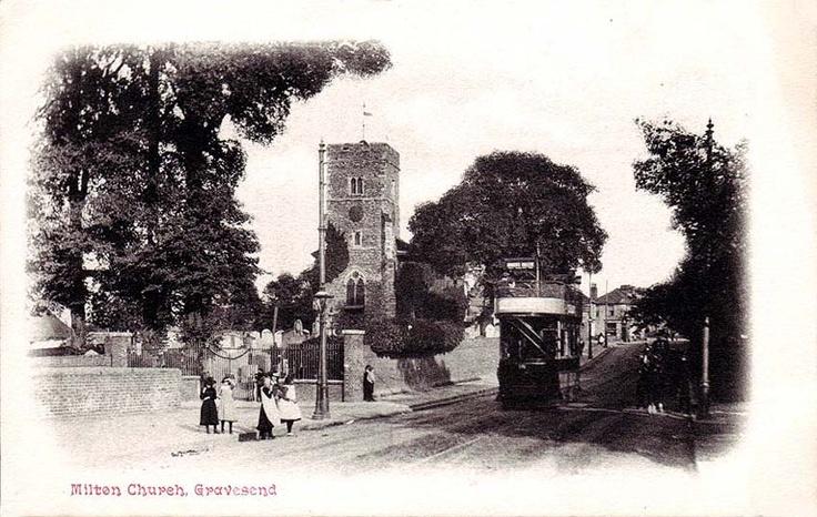 Kent, Gravesend, Milton Church c1910's - showing vintage tram.