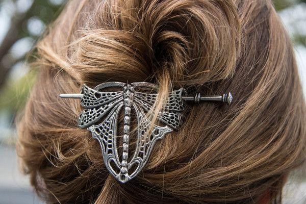 Oberon Design hair accessories, hair sticks, individually handmade from Britannia Metal at Oberon Design. Art Nouveau Dragonfly Hair Stick.