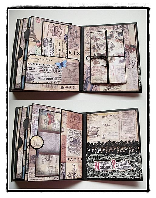various pages and inserts/photo mounts of Madame Payraud's mini album. #crafts…