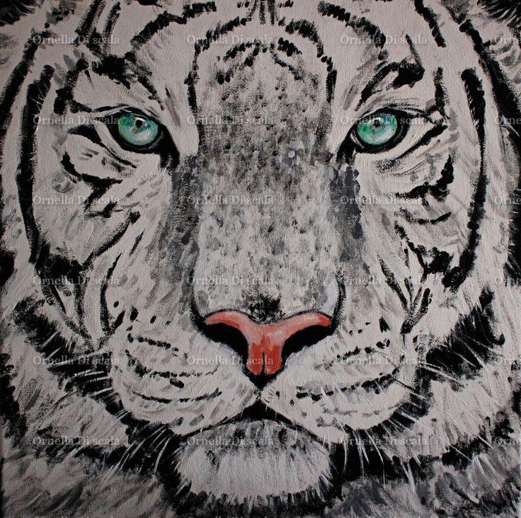 Quadro dipinto tigre siberiana bianca acrilico su tela , white tiger painting ,by Ornella Di Scala, 150,00 € su misshobby.com