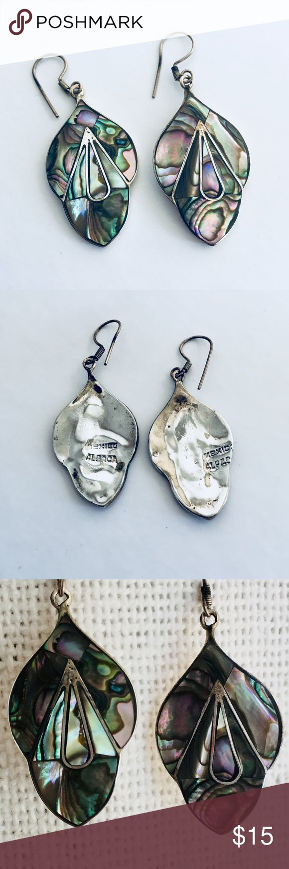 Alpaca Silver - Abalone Shell - Earrings Purchased over ten years ago; moderately worn. Very light and comfortable to wear. Can switch out the Shepard hook upon request. Jewelry Earrings