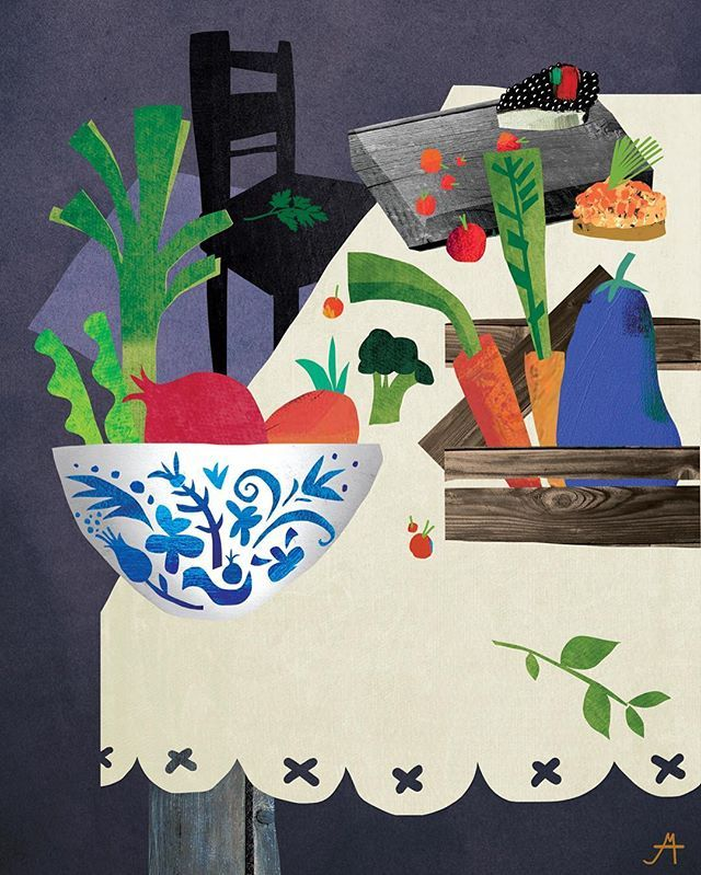 Опасные заказы с картинками про еду  Пока делала наброски съела полтора холодильника  результат — шмуцтитулы и мелкие картинки к главам для книги «Секретные материалы» весёлого ИД «Ресторанные ведомости» ☝️про звездных шеф-поваров, которые раскрывают секреты своего мастерства вот первый шмуц про «сервировку» — гжель, скандинавский стиль, овощи в ящиках, тапас, грубые доски, травки, ягодки скоро покажу остальных парней  #marinapavlikovskaya#натюрморт#иллюстрация#иллюстрации#иллю...