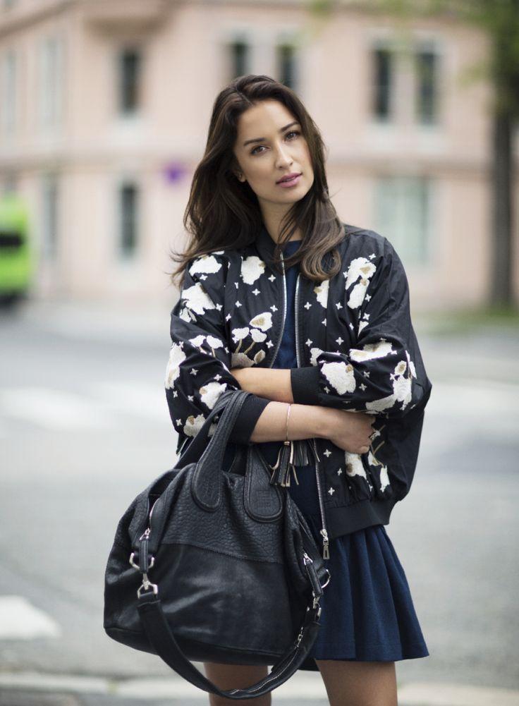 Ingrid Holm blog - floral embroidered bomber jacket, Givenchy nightingale