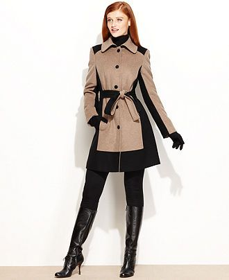 Gifts for your Fashion-Obsessed BFF- Calvin Klein Coat, Colorblock Wool-Blend Belted - Womens Coats - Macy's #17holiday