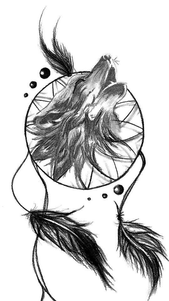 45 best 3d wolf dream catcher tattoo images on pinterest for Wolf tattoo with feathers
