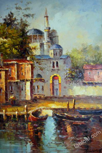 KIYIDAKİ CAMİ «Yağlıboya Tablo , Modern Tablolar , İstanbul Manzara Resimleri