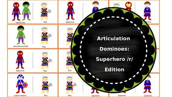 For all of your little speech-language superheroes as well as your kiddos at home, this is the PERFECT SET of dominoes targeting /r/ in words. Just print, laminate, and get to work saving the day by using your good /r/ sounds! Browse my store (Trista B Therapy Materials) for other domino sets targeting various articulation sounds.