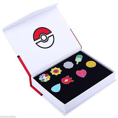8pcs With Box Anime Pokemon Region Gym Badges SET Gen1 Indigo League Cosplay toy Pokemon League Pins Brooches Metal Figure Toys