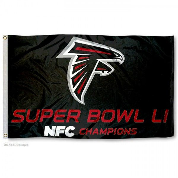 Atlanta Falcons NFC Champs Super Bowl LI Flag measures 3'x5', is made of 100% poly, has quadruple stitched sewing, two metal grommets, and has...