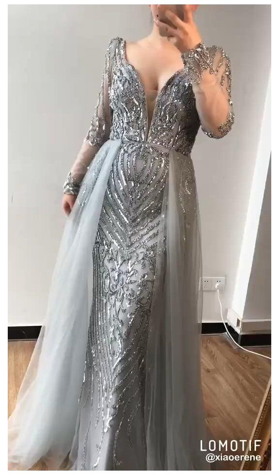 Plus Size Sequined Long Sleeves Beading Evening Gowns 3 Colors Grey Evening Gowns Indian Long In 2021 Evening Gowns Evening Dresses Evening Dresses For Weddings