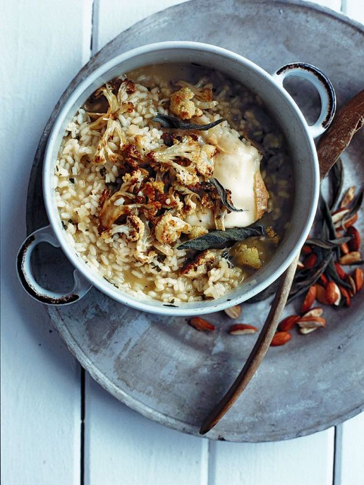 roasted cauliflower, sage & almond risotto. (replace chicken stock with veg stock)
