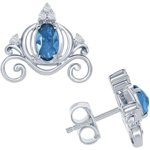 Enchanted Disney London Blue Topaz Cinderella Carriage Earrings in... (£135) ❤ liked on Polyvore featuring jewelry, earrings, disney, accessories, blue, sparkly stud earrings, blue stud earrings, blue earrings, round stud earrings and stud earrings