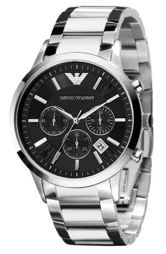 4. Emporio Armani Men's AR2434 Chronograph Stainless Steel Watch